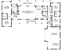 Main Floor Plan image for Mascord Bernadino-Gorgeous Modern Farm House Layout-Main Floor Plan Modern Floor Plans, Contemporary House Plans, Modern House Plans, Modern House Design, Ranch Floor Plans, House Plans And More, New House Plans, Dream House Plans, Beach House Floor Plans