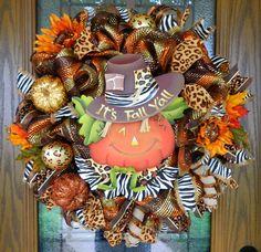 "Free Shipping Halloween Fall Pumpkin ""It's Fall Y'All"" Deco Mesh Wreath   eBay"