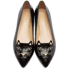 Charlotte Olympia Black Croc-Embossed Mid-Century Kitty Flats ($445) ❤ liked on Polyvore featuring shoes, flats, flat pointed-toe shoes, pointed toe flats, black cat flats, cat flats and black cat shoes