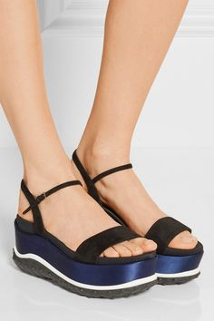 Sole measures approximately 80mm/ 3 inches Black suede and faille, midnight-blue satin Buckle-fastening ankle strap Made in Italy