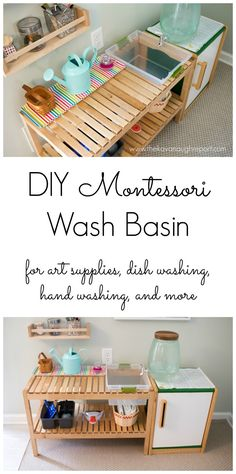 A DIY IKEA hack water basin for our Montessori home. Give your child access to water for use in Practical Life and Art activities, and encourage their independence. Ikea Montessori, Montessori Toddler, Montessori Materials, Montessori Activities, Baby Activities, Montessori Elementary, Montessori Education, Preschool Classroom, Casa Kids
