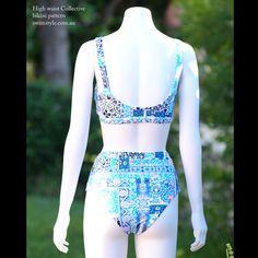 Back view High waist Collective bikini pattern by Swim Style patterns