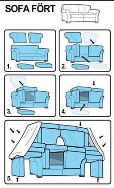How to build a sofa fort! Haha I love how ikea-ized the instructions are! Things To Do At A Sleepover, Fun Sleepover Ideas, Sleepover Games, Sleepover Crafts, Ideas For Sleepovers, Sleepover Room, Slumber Party Birthday, Sleepover Birthday Parties, Teen Party Games