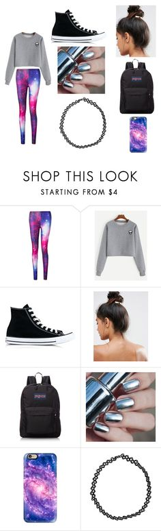 """I don't believe in humans"" by bre-winter ❤ liked on Polyvore featuring Converse, Kitsch, JanSport, Casetify and Boohoo"