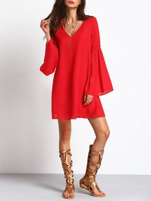 ♡ Casual Red Sundress Sheer V Neck Loose Dress ♡ Red Sundress, Latest Dress, 15 Dresses, Dress P, Bell Sleeves, Tunic Tops, V Neck, Casual, Sweaters