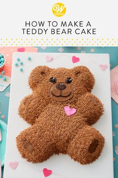 This cuddly Teddy Bear Cake is almost too cute to eat! Perfect for a first birthday party or baby shower, this cake is made using the Wilton Teddy Bear Cake Pan. Cake Decorating Techniques, Cake Decorating Tips, Picnic Birthday, Bear Birthday, Cupcakes, Cupcake Cakes, Shaped Cake Pans, Teddy Bear Cakes, Horse Cake