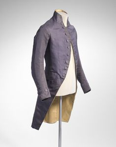 Coat and wig-bag (c. Artist/s name (FRANCE) Medium silk, linen, metal, wood Measurements (a) cm (centre back) cm (sleeve length) (coat) (b) x x cm (wig-bag) 18th Century Dress, 18th Century Costume, 18th Century Fashion, Historical Costume, Historical Clothing, Vintage Outfits, Vintage Fashion, Antique Clothing, Men's Clothing