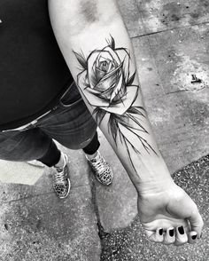 Rose sketch style tattoo by ineepine. The lines are irregular and there is a general messiness to these sketch style tattoos that make them the epitome of originality and creativity. Enjoy!