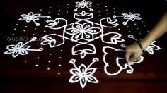 Simple flowers kolam designs with15-8 middle | chukkala muggulu with dot...