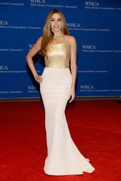 De la cena en la Casa Blanca: Sofia Vergara. Con un vestido de cuerpo dorado asimétrico con falda blanca de Romona Keveza primavera 2014. El collar de Lorraine Schwartz.