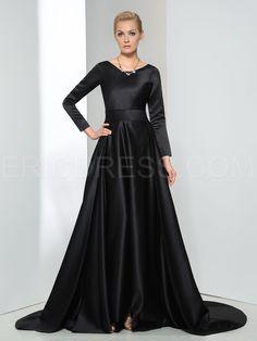 Ericdress Long Sleeves Bowknot Chapel Train Evening Dress 1