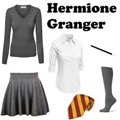 DIY Easy Hermione Granger Halloween Costume - How to Rock your Halloween costume by Ruffled Feathers Clever Halloween Costumes, Easy Costumes, Easy Halloween Costumes, Adult Costumes, Costumes For Women, Costume Ideas, Alien Halloween, Halloween Ideas, Hermione Granger Halloween Costume