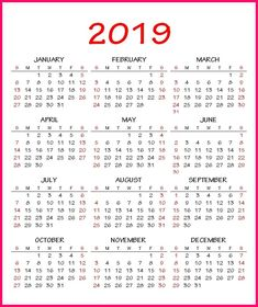 31 Best 2019 Calendar Template In One Pages Images