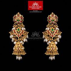Gold Jewelry Kundan Gottupusalu Jhumkis - Earrings L : inches; W : inches Screw Type : Bombay Screw, Gold Jhumka Earrings, Jewelry Design Earrings, Gold Earrings Designs, Buy Earrings, Gold Jewellery Design, Gold Jewelry, Designer Jewellery, Antique Earrings, Handmade Jewellery