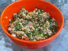 Tabbouliis also known as Tabbouleh, Taboulehor Tabuli. It's a salad that is traditionally made with bulgur, finely chopped parsley and mint, tomato, green onion and seasoned with olive ...