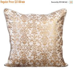 CYBER MONDAY SALE Gold Fest - 16x16 Inches Ivory White Velvet with Gold Print Throw Pillow Cover.