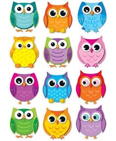 Colorful Owls Cut-Outs for decorating bulletin boards and classroom walls.