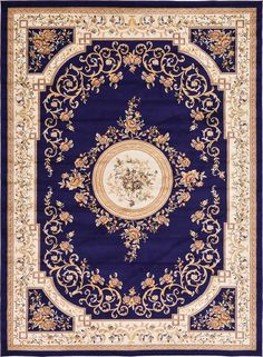 Versailles Navy Blue Area Rug