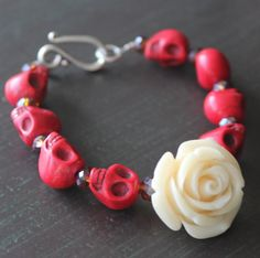 Items similar to Rockabilly Red Sugar Skull Bracelet Halloween jewelry on Etsy Faceted Glass, Glass Beads, Skull Bracelet, Sugar Skulls, Graduation Gifts, Rockabilly, Separate, Rest, Ivory