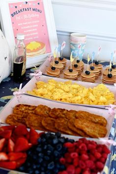 """Picture Perfect Sleepover or """"Sleep-Under"""" Party Pancakes in Pajamas - Offer a breakfast themed food bar at a sleepover party!Pancakes in Pajamas - Offer a breakfast themed food bar at a sleepover party! Pancakes And Pajamas, Mini Pancakes, Waffles, Birthday Breakfast, Breakfast Menu, Cute Breakfast Ideas, Pancake Breakfast, Breakfast Casserole, Birthday Pancakes"""