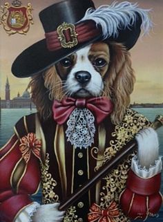 Cavalier King Charles, Cavalier King Spaniel, Dog Artwork, Dog Illustration, Tier Fotos, Dog Paintings, Dog Portraits, Pop Art, Art Dolls