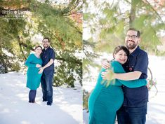 Winter maternity session in the snow by Little Lamb Photography.