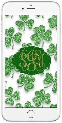 Glitter St Patrick's Day monogram wallpaper.  Made with @monogramapp