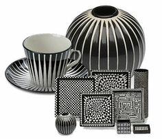 Stig Lindberg's Art Ceramic Clay, Porcelain Ceramics, Ceramic Pottery, Pottery Art, Clay Design, Ceramic Design, Swedish Style, Scandinavian Design, Black And White Dishes