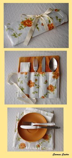 Porta cubiertos e individual para platos pequeños http://carmen-castro-creations.blogspot.pt/