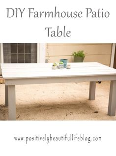 A step by step post on how to make a beautiful farmhouse patio table!