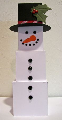 Snowman box made using the Cricut Tags, Bags, Boxes & More cartridge.