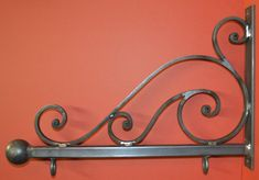 Sign Bracket Holder, Wrought Iron Scroll, 23 in., by Worthington Forge in USA – Metal Plant Hanger Iron Gates, Iron Doors, Iron Fences, Metal Plant Hangers, Wrought Iron Decor, Door Gate Design, Blacksmith Projects, Iron Furniture, Iron Art