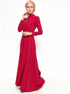 CHERRY RED DRESS - $48.73 ALSO AVAILABLE IN THE COLOUR SALMON, KHAKI, BLACK & LIGHT PINK.       cherry red dress_hijab style_hijab fashion_latest hijab fashion_trendy hijab dresses for everydaywear_