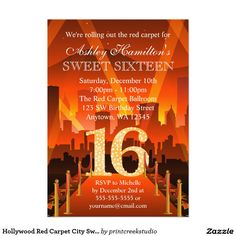 Hollywood Red Carpet City Sweet 16 Birthday 5x7 Paper Invitation Card