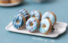 Blue Donuts/Doughnuts Ear Studs/Earrings