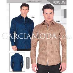 Camisa Lamasini Jeans 1343 Estampado Cuatrifolio Manga Larga