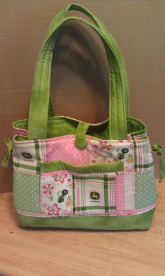 John Deere Pink and green Diaper bag purse tote bow by craftykids, $40.00