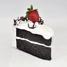 """Vanilla Cake Slice How cruel. This slice of vanilla-frosted cake… Woodland Cake, Chocolate Strawberry Cake, Fake Cake, Fabric Ornaments, Ice Cream Cookies, Felt Food, Christmas Cupcakes, Creative Food, Handmade Christmas"