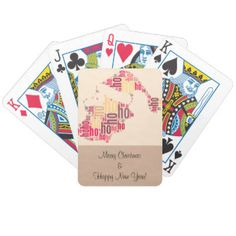 Santa Claus wordcloud Ho Ho Ho Bicycle Playing Cards
