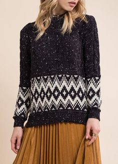 L:C Babe   Moon River Tribal Speckled Sweater