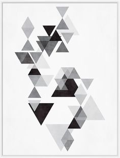 Grey Triangles I Inverse Framed Graphic Art