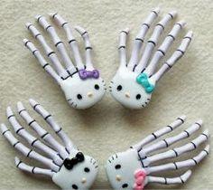 Hello Kitty Skeleton Hand Hair Clips