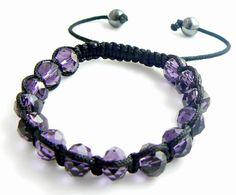 Glass shamballa bracelet Purple