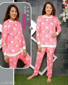 Nightsuits Stylish Women Fancy Nightsuit Top Fabric: Wool Bottom Fabric: Wool Top Type: Tshirt Bottom Type: Pyjamas Sleeve Length: Long Sleeves Pattern: Printed Multipack: 1 Sizes: L (Top Bust Size: 38 in Top Length Size: 25 in Bottom Waist Size: 34 in Bottom Hip Size: 36 in Bottom Length Size: 36 in) Country of Origin: India Sizes Available: M, L, XL *Proof of Safe Delivery! Click to know on Safety Standards of Delivery Partners- https://ltl.sh/y_nZrAV3  Catalog Rating: ★4 (3552)  Catalog Name: Women's Winter Nightsuits CatalogID_2001790 C76-SC1045 Code: 824-11672895-