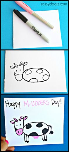 "Cow Mother's Day Card Idea for Kids to Make ""Happy M-UDDERS Day!"" Funny Mothers day gift 