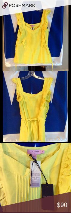 """🆕NWTs🆕Ted Baker Yellow Sleeveless Top Offering a 🆕NWTs Ted Baker Pale Yellow Sleeveless Top with Frills & Pintucks! ✨Adorbs✨ Has side zipper & ties in the back or front for those who like to """"mix it up!"""" It is a silk blend so ⚡️Handle with Care!⚡️It's a size 3 which is a medium to large & with the fact it ties... It's a great fitted & polished look! Ted Baker London Tops"""
