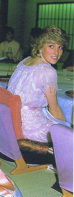 Diana in a pink chiffon and pearl beaded dress  with a zig-zag hem, worn in Japan.