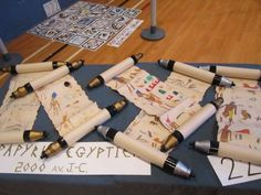 Egyptian scrolls of papyrus. – Taylor Dickinson Egyptian scrolls of papyrus. Egyptian scrolls of papyrus. Ancient Egypt Activities, Ancient Egypt Crafts, Egyptian Crafts, Egyptian Party, Ancient Aliens, Art For Kids, Crafts For Kids, Diy Crafts, World Thinking Day