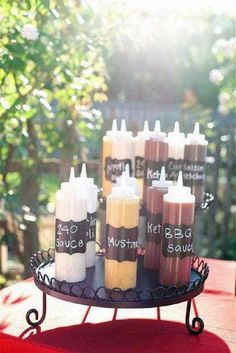 rustic barbecue bbq wedding on a black plate different sauces for a barbecue your home based mom reception food 30 Rustic BBQ Wedding Ideas [Best For Backyard Wedding Reception] Soirée Bbq, I Do Bbq, Barbeque Wedding, Barbecue Sauce, Bbq Menu, Barbecue Recipes, Grilling Recipes, Gourmet Hot Dogs, Bbq Buffet