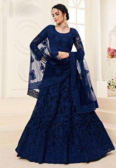 Online ethnic wear store for indian lehenga choli. Shop this net and satin silk embroidered work a line lehenga choli for bridal, reception and wedding. Lehnga Dress, Lehenga Gown, Lehenga Style, Party Wear Lehenga, Net Lehenga, Anarkali, Heavy Lehenga, Blue Lehenga, Indian Wedding Gowns